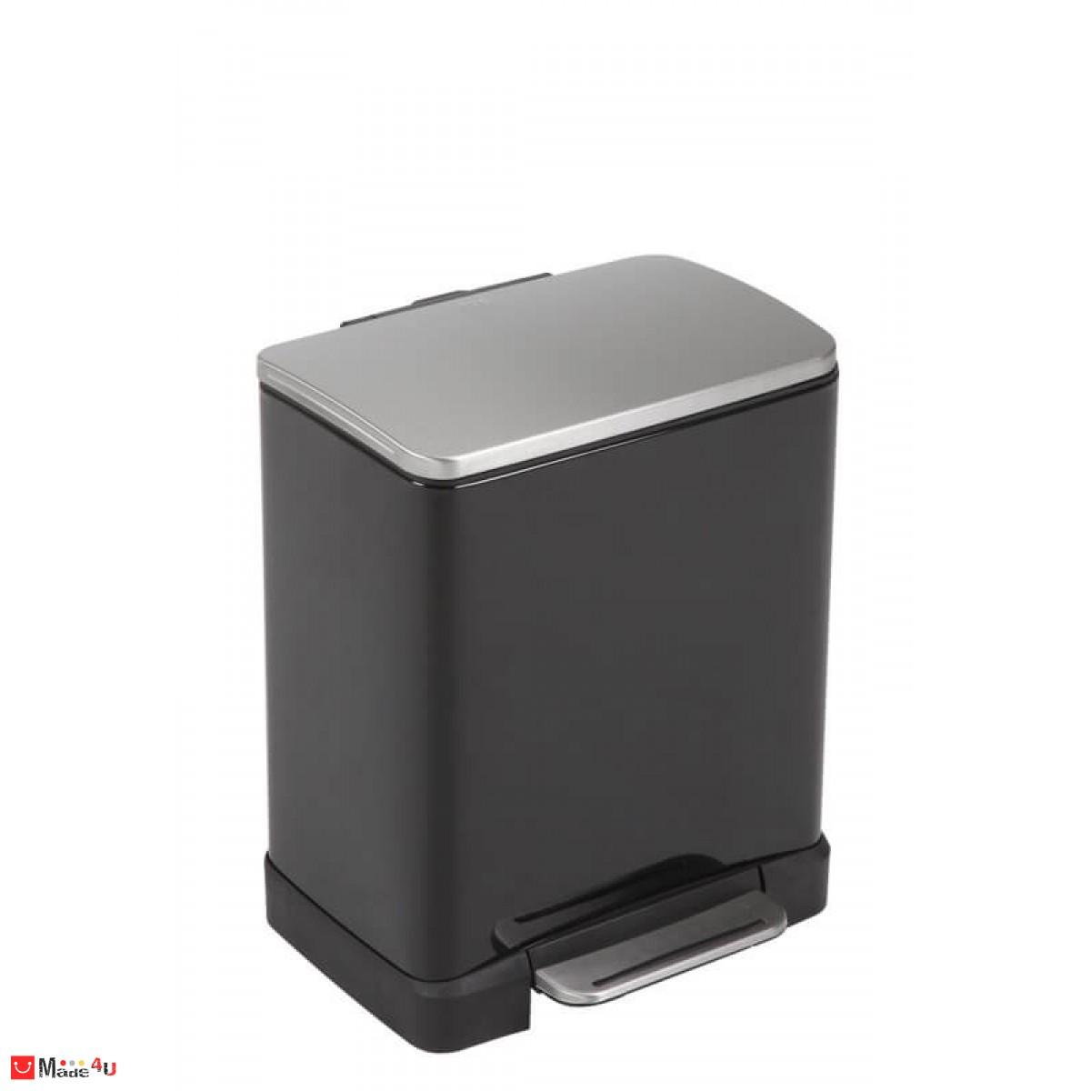 Кош за разделно събиране на отпадъци с педал ECUBE, EKO. Два коша от 10+9 литра - черен