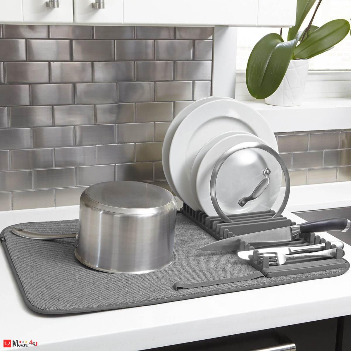 Сушилник за съдове със стойка - цвят сив, модел UDRY, UMBRA