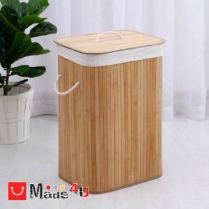 Кош за пране с капак, 72л, Бамбуков, Натурален цвят, 40х30х60см, Homey 1193279