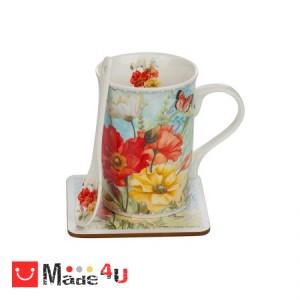 Сет Чаша за кафе и чай с лъжичка и подложка, 300 мл, Lancaster - Макове