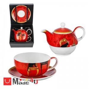 Сервиз за чай от 3 части, Чайник 500мл, Чаша 250мл, Чинийка - Lancaster Котки