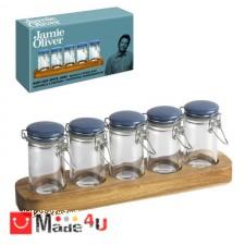 подарък Сет за подправки, 5бр стъклени бурканчета с дървена поставка, Jamie Oliver JC8100 NV-JC 8100