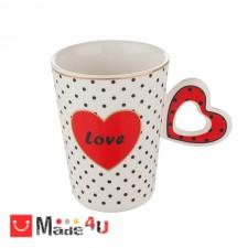 подарък Чаша за влюбени, чаша с форма сърце за кафе и чай, 350 мл, Lancaster Love - червен DM-690301