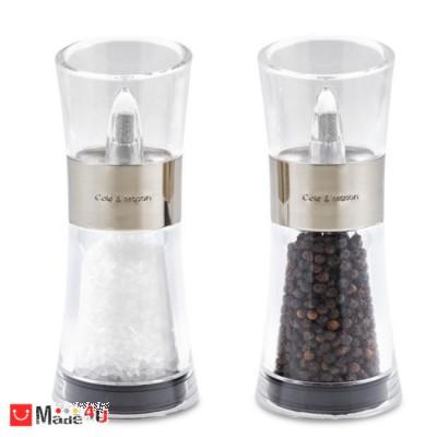 подарък Комплект мелнички за сол и пипер 15см, керамичен механизъм, инокс, Cole&Mason FLIP NV-COLE & MASON H 581780