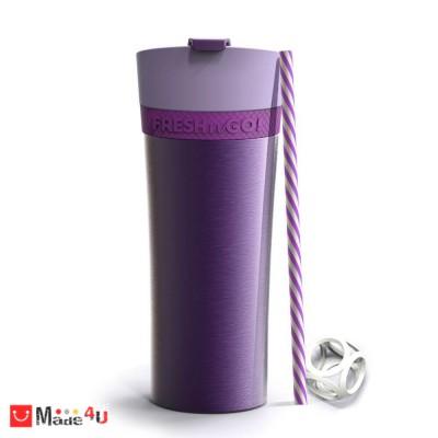 Двустенна термо чаша FRESH-N-GO 500мл с вакуумна изолация и система AIR PUMP - цвят лилав, ASOBU