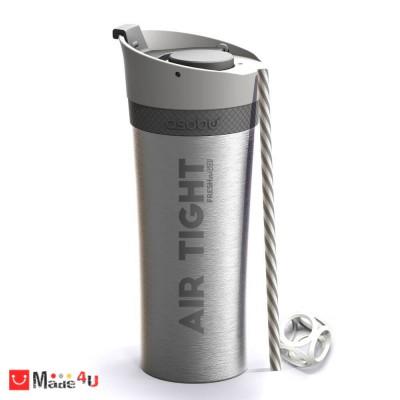 Двустенна термо чаша FRESH-N-GO в цвят сребрист с вакуумна изолация и система AIR PUMP - 500мл, ASOBU