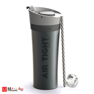 Двустенна термо чаша FRESH-N-GO в цвят графит с вакуумна изолация и система AIR PUMP - 500мл, ASOBU