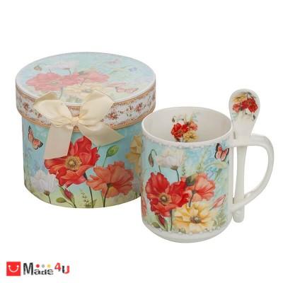 Изискана Чаша за кафе и чай с лъжичка