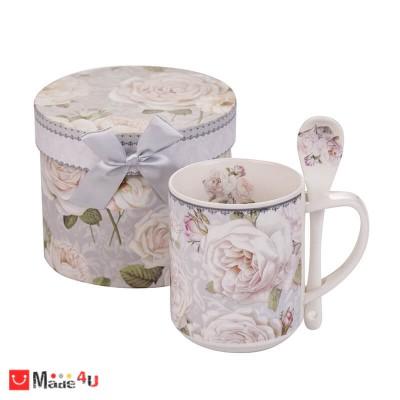 Порцеланова Чаша за кафе и чай с лъжичка