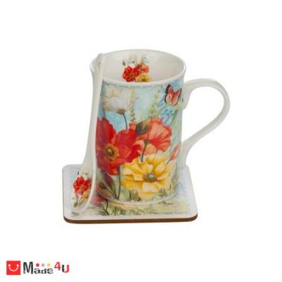 Сет Чаша за кафе и чай с лъжичка и подложка