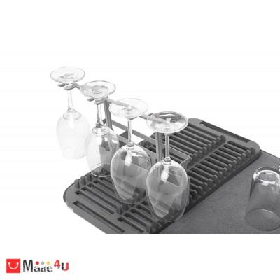 Отцедник за съдове с приставка за чаши и прибори UDRY, UMBRA - цвят сив