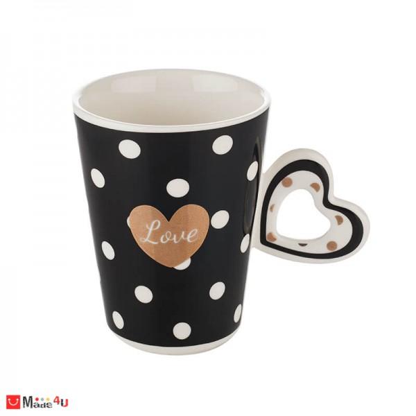 Чаша за влюбени, чаша с форма сърце за кафе и чай, 350 мл, Lancaster Love - черна