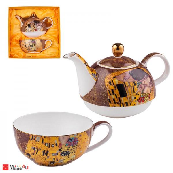 Сервиз за чай от 2 части, Чайник 300мл, Чаша 150мл, Lancaster Целувката