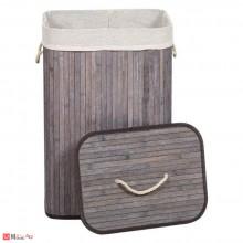 Кош за пране с капак, 72л, Бамбуков, Антрацит, 40х30х60см, Homey 1193280