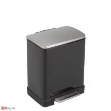 Кош за боклук с педал, 12 литра, плавно затваряне, черен, EKO ECUBE