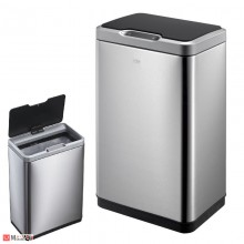 Кош за боклук 30л, сензорен механизъм, плавно затваряне, хром мат, EKO MIRAGE
