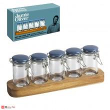 Сет за подправки, 5бр стъклени бурканчета с дървена поставка, Jamie Oliver JC8100