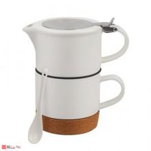 Сет за чай от 4 части, чаша, чайник, лъжичка, цедка - Lancaster LG10
