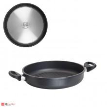 Тава BBQ, кръгла Ø28см с дръжки, оребрена, плитка 5,5см, SKK