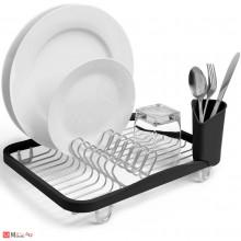 Отцедник за чинии, чаши и прибори, метален сушилник 36х28см, UMBRA SINKIN, черен