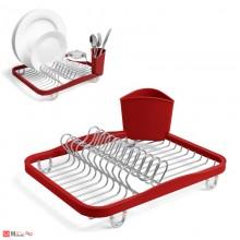 Отцедник за чинии, чаши и прибори, метален сушилник 36х28см, UMBRA SINKIN, червен
