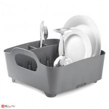 Универсален отцедник за чинии, чаши и прибори, сушилник 38х36см, UMBRA TUB, светло сив