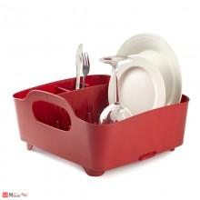Универсален отцедник за чинии, чаши и прибори, сушилник 38х36см, UMBRA TUB, червен