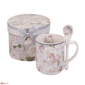 Порцеланова Чаша за кафе и чай с лъжичка, 280 мл, Lancaster - Бяла Роза