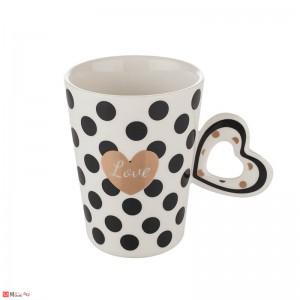 Чаша за влюбени, чаша с форма сърце за кафе и чай, 350 мл, Lancaster Love - бяла