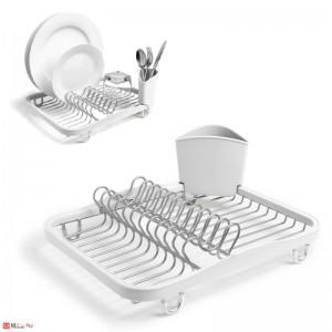 Отцедник за чинии, чаши и прибори, метален сушилник 36х28см, UMBRA SINKIN, бял