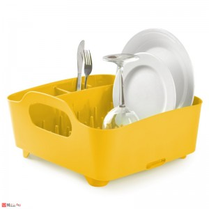 Универсален отцедник за чинии, чаши и прибори, сушилник 38х36см, UMBRA TUB, жълт